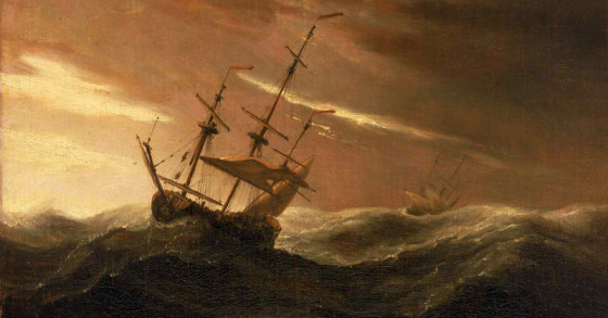 An English Ship Lying to In a Gale - Willem van de Velde II